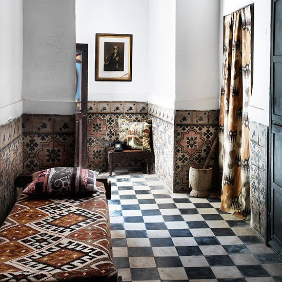 Hallway With Original Black And White Tiles Black And