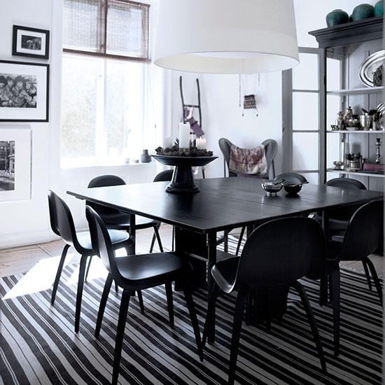Dining Room Flooring Ideas: Dining Room With Black And White Striped Rugs
