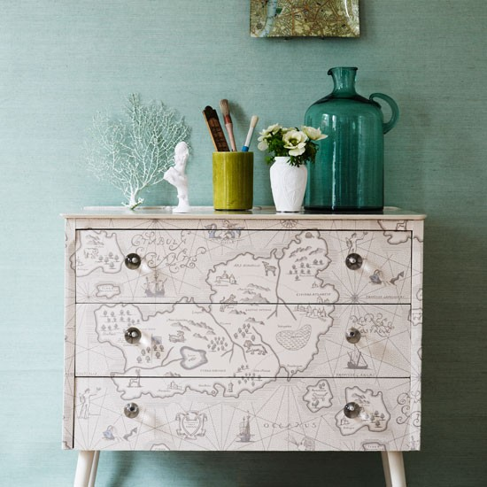 Map Print Covered Bedroom Chest Explorer Trend