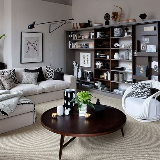 Family Room Storage Ideas: Living Room With Modular Shelving