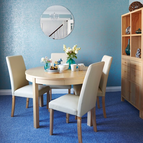 Blue Kitchen Flooring Ideas: Dining Room With Blue Coloured Carpet