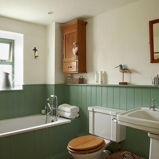 Traditional bathroom with jade green panels traditional - Bathroom ideas photo gallery ...