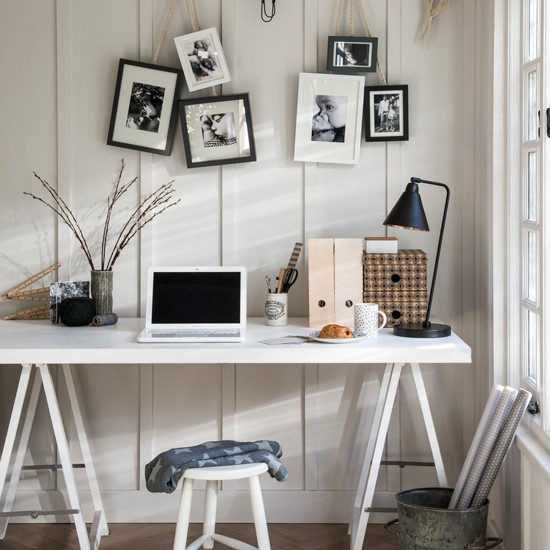 Home Office With White Trestle Table Decorating With