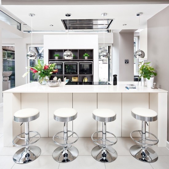 White Kitchen With Silver Bar Stools Decorating With