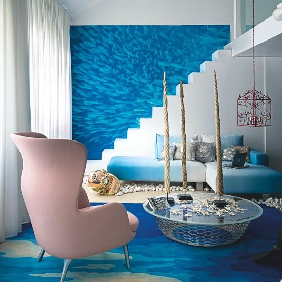 Blue And White Greek Island-inspired Living Room