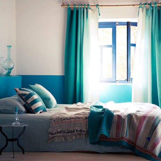 Moroccan-style Bedroom With Blue Fabrics