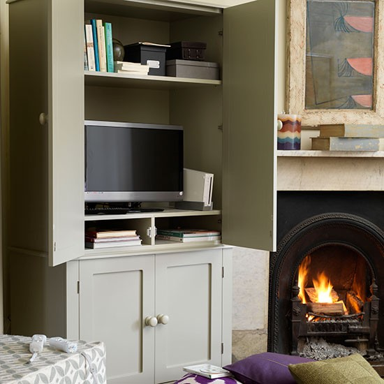 Small Living Room Ideas With Tv: TV And Storage Cupboard In One