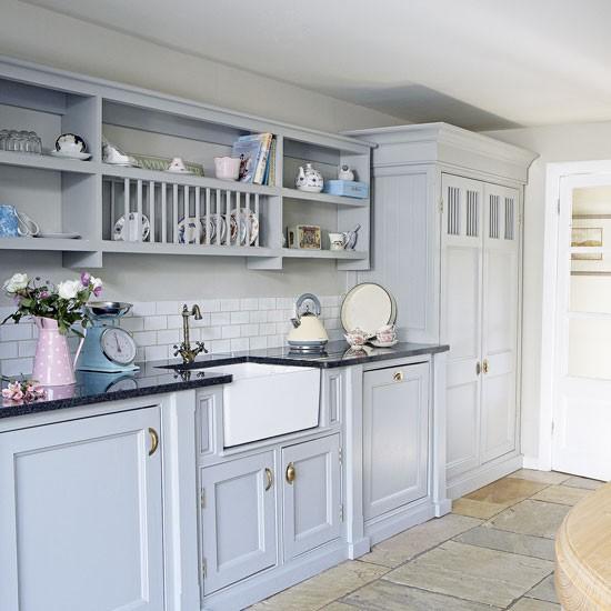 Blue Kitchen Cabinets: Pale Blue Country Kitchen