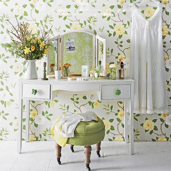 Floral Green Bedroom Dressing Area