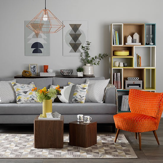 Grey Living Room With Orange Chair