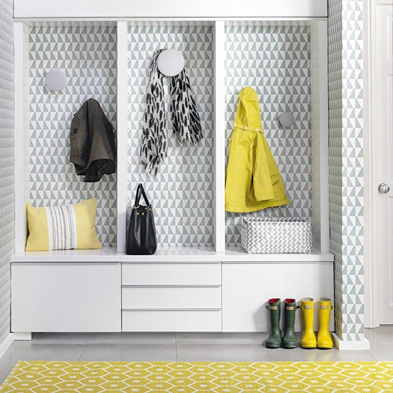 Hallway Storage With Geometric Yellow Rug Scandinavian