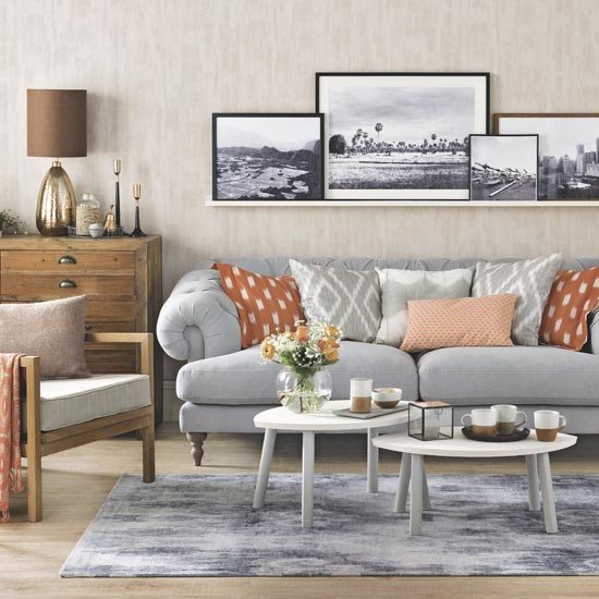Copper And Grey Bedroom Ideas: Grey And Orange Living Room