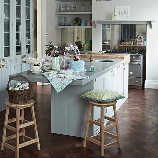 Blue Kitchen Flooring Ideas: Pale Blue Kitchen With Parquet Flooring