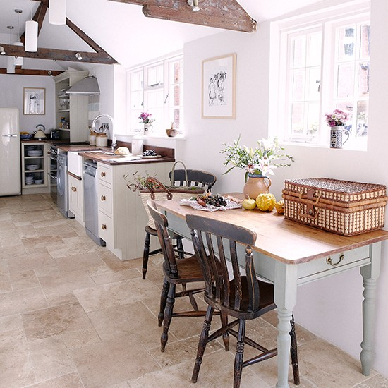 Kitchen Flooring Ideas: Limestone Flooring In Kitchen With Stone Painted Units And