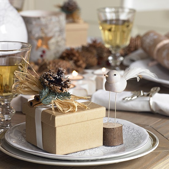 Holiday Place Settings: Christmas Table With Present Place Settings