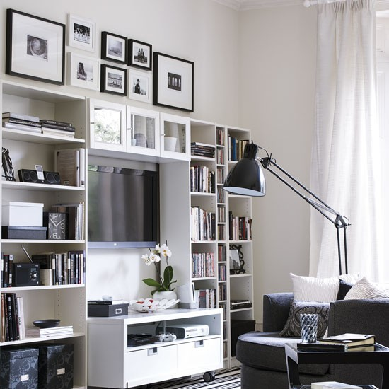 Family Room Storage Ideas: Monochrome Living Room With Modular Media Unit