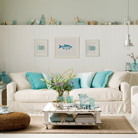 Family Room Storage Ideas: White Living Room With Picture Ledge