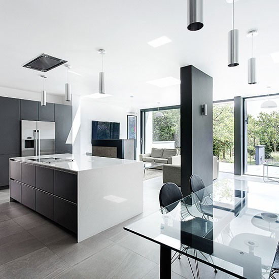 Open Plan Kitchen Design Ideas: Modern Grey-and-white Kitchen