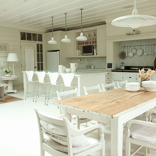 Rustic Open Kitchen Plans: Rustic Whitewashed Kitchen