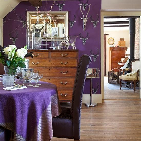 23 Purple Dining Room Designs Decorating Ideas: Purple Dining Room With Deer Wallpaper