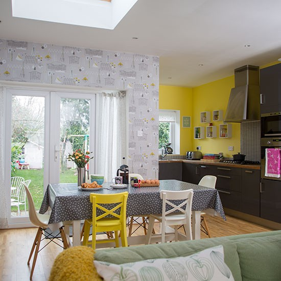 Yellow Dining Rooms: Yellow And Grey Dining Room