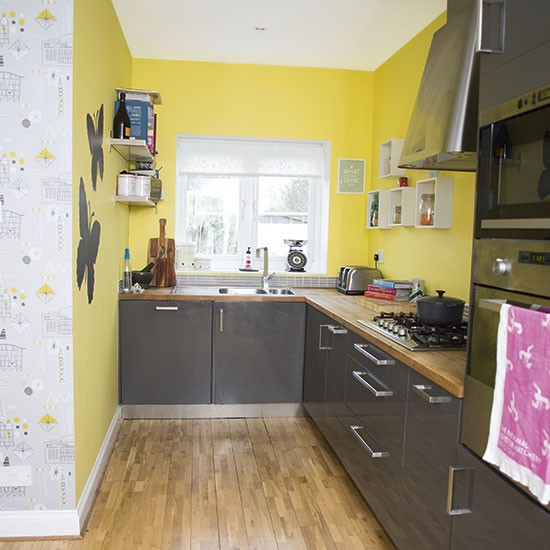 yellow and grey kitchen decorating. Black Bedroom Furniture Sets. Home Design Ideas