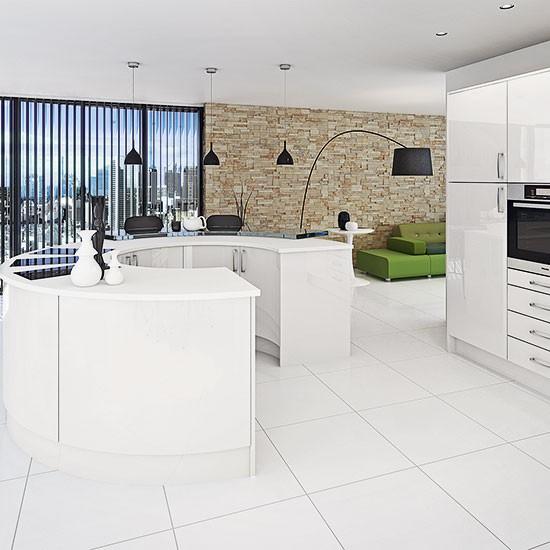 Loft Style White Kitchen With Horseshoe Shaped Island