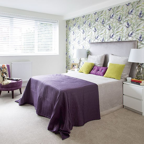 Purple And Green Modern Bedroom