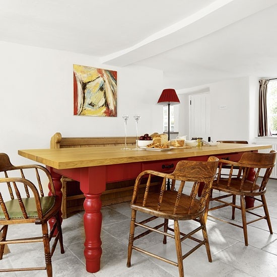 Red Dining Room Table: White Dining Room With Red Farmhouse Table