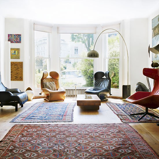 Oriental Rug For Small Room: Living Room With Multiple Patterned Rugs