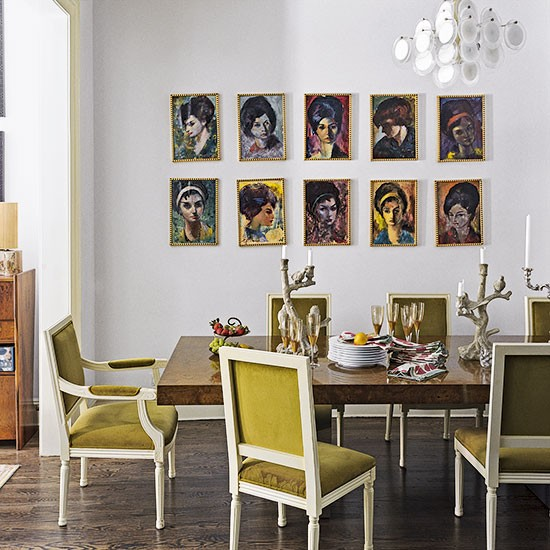 Grand Dining Room With Portrait Wall