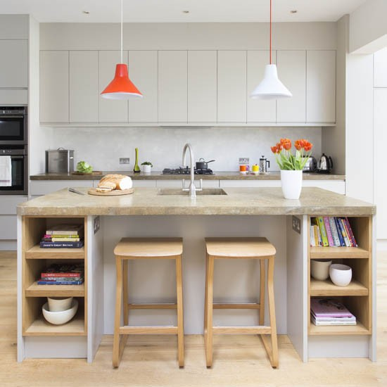 A Cramped Kitchen And Dining Room Become One Ideal: Contemporary Grey Kitchen-diner