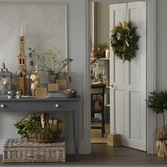 Christmas Decorations Uk: Rustic Grey Christmas Hallway With Natural Foliage