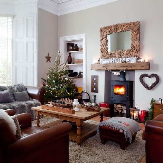 Country Rustic Living Room: Country Christmas Living Room With Rustic Decorations
