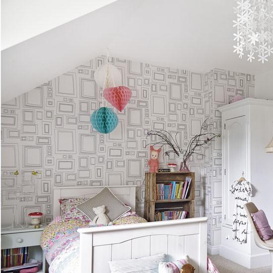 Minimalist white teenage girl 39 s bedroom with feature - Wallpaper for teenage girl bedroom ...