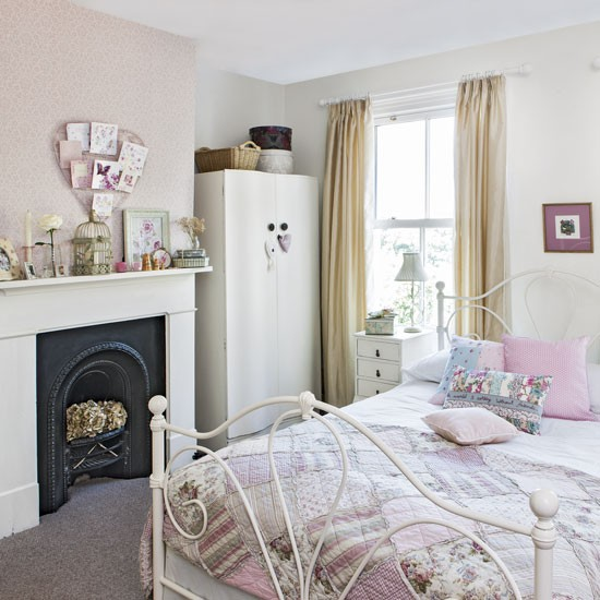 Pink Teenage Girl's Bedroom With Vintage Furniture