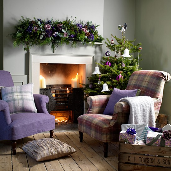 33 Best Christmas Country Living Room Decorating Ideas: Cosy Christmas Living Room With Heather Armchairs