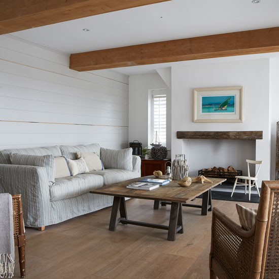 Modern Country Living Room: Coastal Living Room With White Wood Panelling