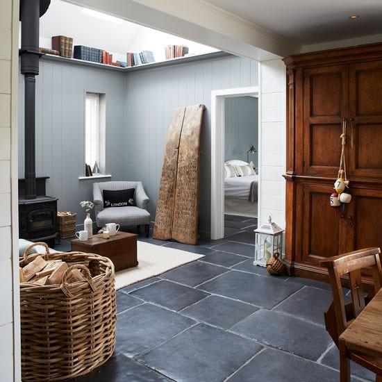 Rustic Living Room With Wood Burner And Slate Floor