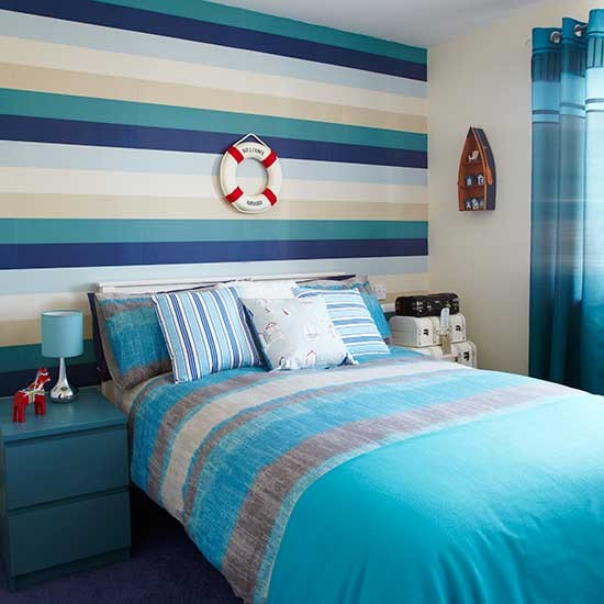 Blue Boys Room Ideas: New England Inspired Wallpaper With Blue Horizontal