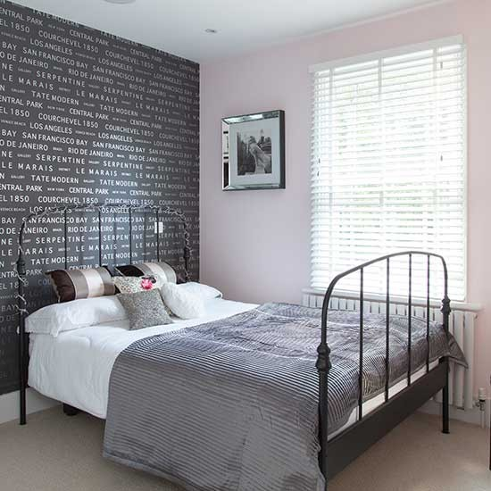 Gray Wallpaper Bedroom Tumblr Bedroom Ideas Quotes Bedroom Door Hard To Close Bedroom Painting Colours Combinations: Grey Typographical Wallpaper