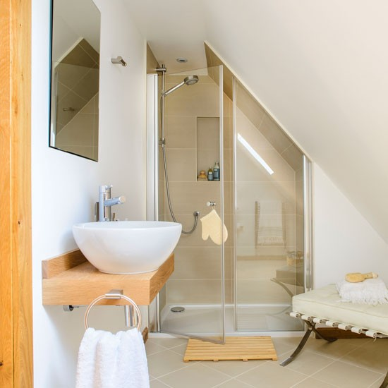 A neutral shower room with sloped ceiling bathroom - Bathroom ideas photo gallery small spaces ...