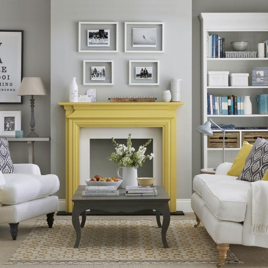 Living Room Inspiration: Grey Living Room With Yellow Fireplace
