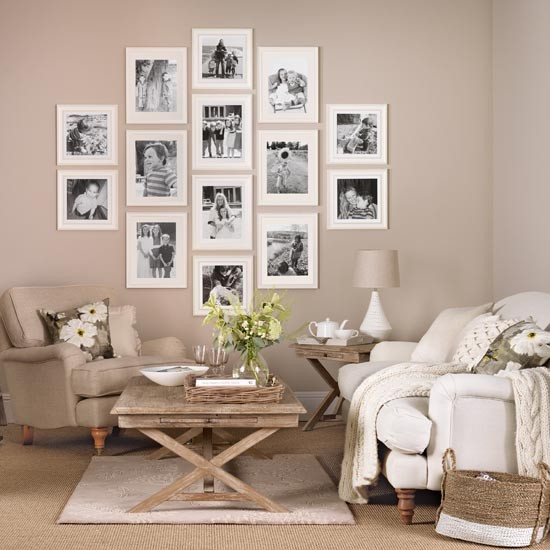Simple Home Ideas: Neutral Living Room With Family Picture Gallery