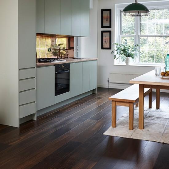 Junckers Dark Wood Floor With Pale Green Kitchen