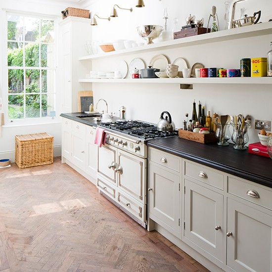 Kitchen With Open Cabinets: Country-style Galley Kitchen With Open Shelves