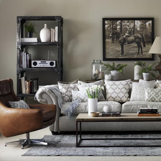 Grey Living Room With Leather Armchair Great Schemes