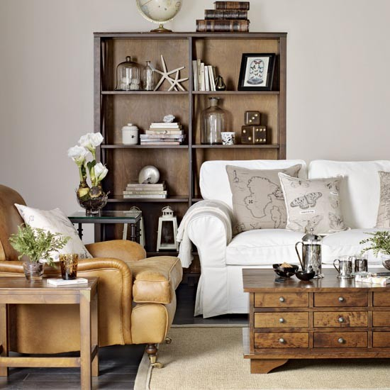 How To Mix And Match Furniture For Living Room: Neutral Living Room With Leather Armchair