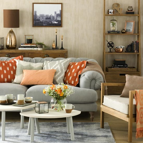 How To Mix And Match Furniture For Living Room: Grey Living Room With Orange Accents