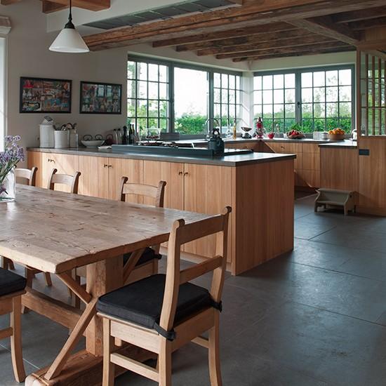rustic kitchen with grey slate floor  hard working